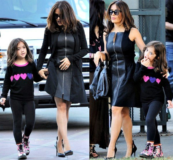 Salma Hayek with daughter Valentina on the set of her upcoming film, How to Make Love Like an Englishman, in Los Angeles, California, on October 30, 2013