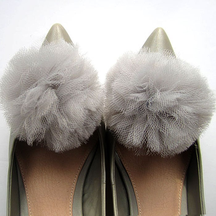 Tulle Pompom Shoe Clips