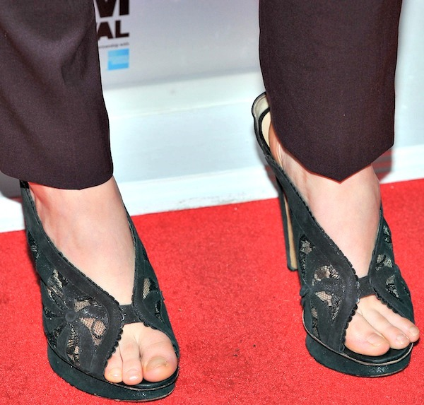 Saoirse Ronan wearing Nicholas Kirkwood Fall 2009 sandals with black lace panels