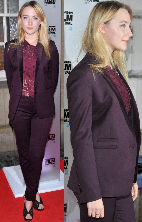 Saoirse Ronan was spotted during the 2013 BFI London Film Festival Awards wearing a stylish purple three-piece suit paired with Nicholas Kirkwood Fall 2009 sandals with black lace panels