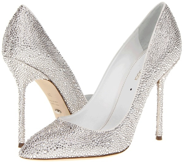 sergio rossi crystal coated pumps