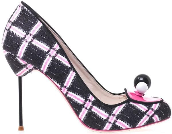 "Sophia Webster ""Amber"" Plaid Print Pump with Ball Embellishment"