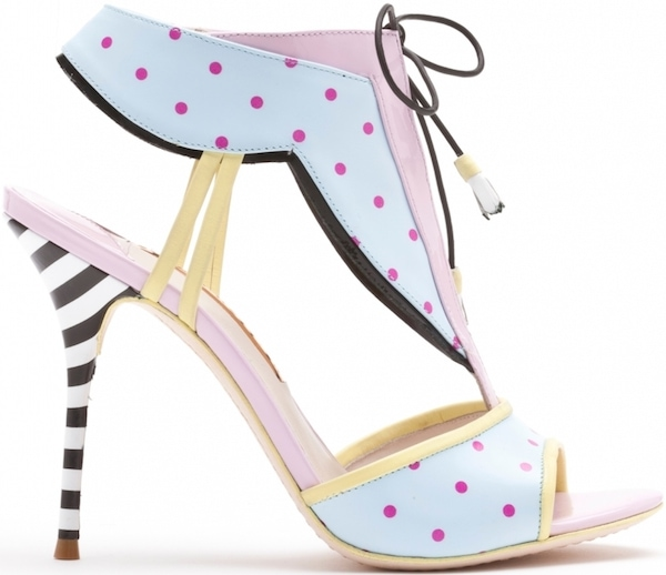 "Sophia Webster ""Leilou"" Baby Blue, Fuchsia Polkadot and Pastel Lilac Leather Sandal"