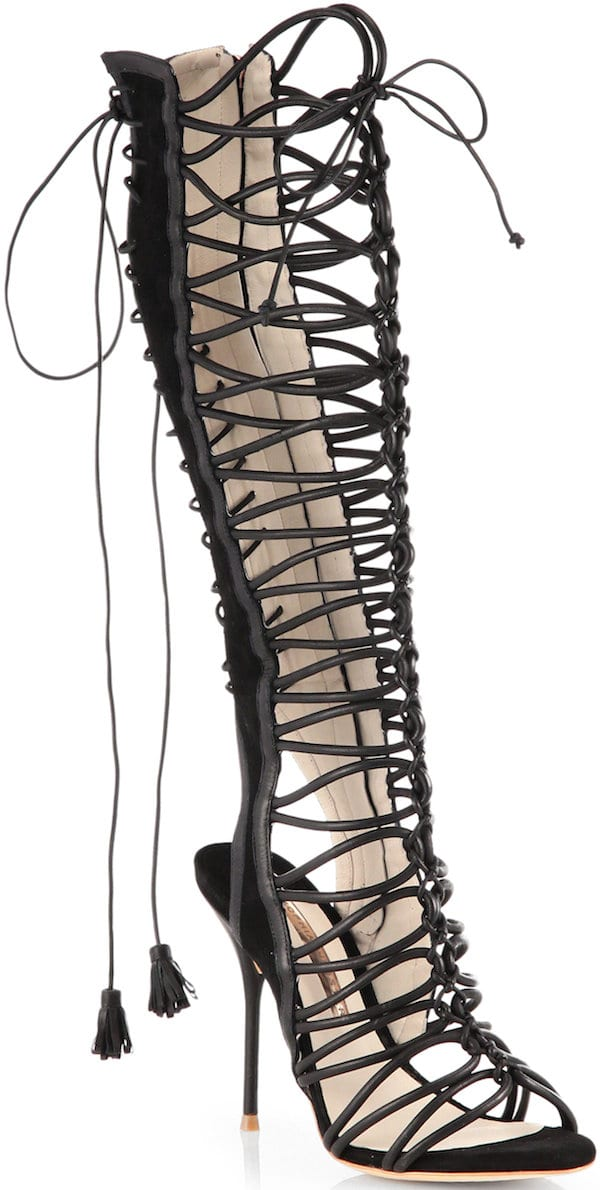 "Sophia Webster ""Clementine"" Black Knee-High Sandal"