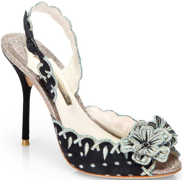 "Sophia Webster ""Eloise"" Suede Slingback Sandal with Embroidered Flower Detail"