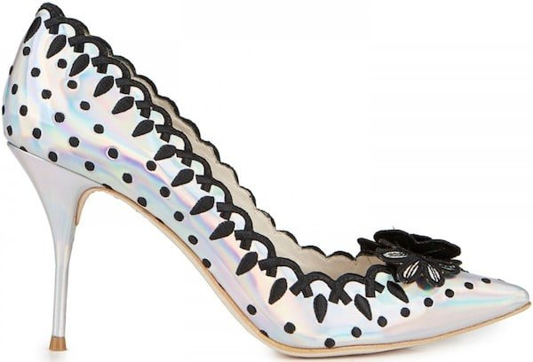 "Sophia Webster ""Emeli"" Hologram Pump with Embroidered Flower Detail"