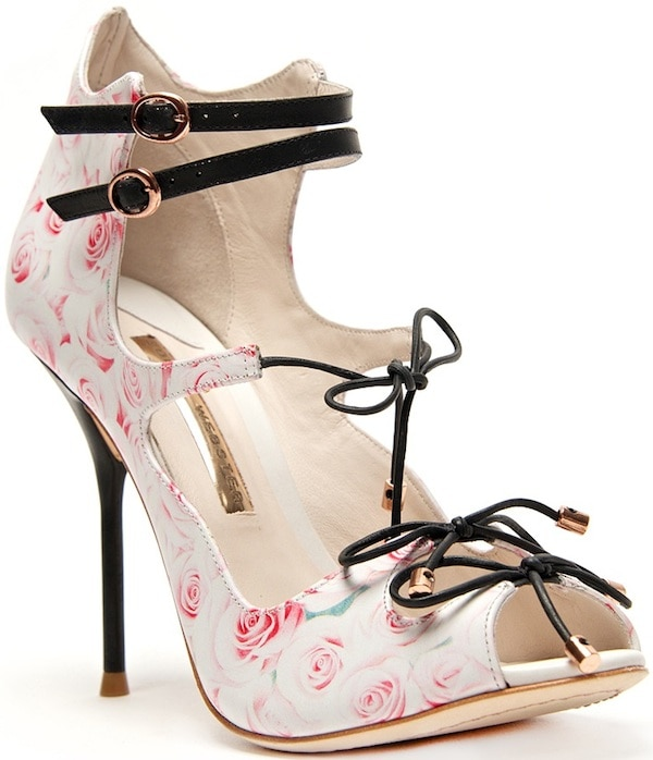 "Sophia Webster ""Finn"" Rose-Printed Leather Sandal"