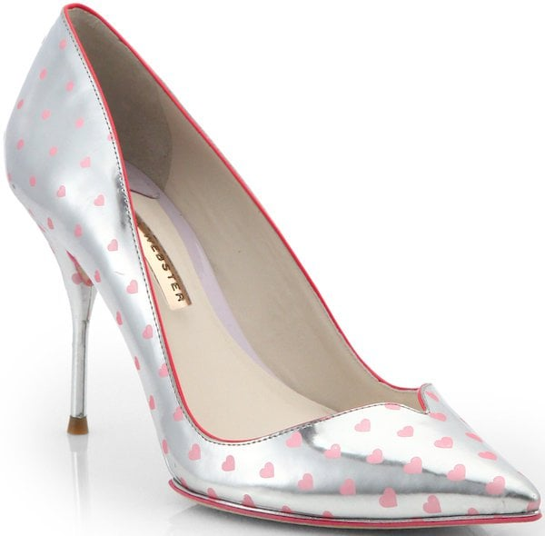 "Sophia Webster ""Izzy"" Silver and Pink Polka Heart with Sweetheart Toe Shaping"