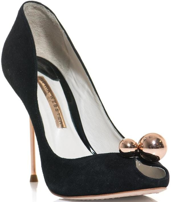 "Sophia Webster ""Loren"" Black Suede Peep-Toe Pump"