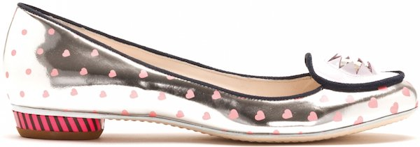 "Sophia Webster ""Minnie"" Metallic Polka Heart Flat with Large Crystal Embellishment"