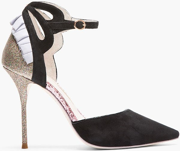 "Sophia Webster ""Penelope"" Suede and Glitter D'Orsay Pump"
