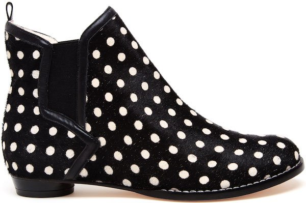 "Sophia Webster ""Tara"" Black and White Polka Dot Pony Flat Boot"