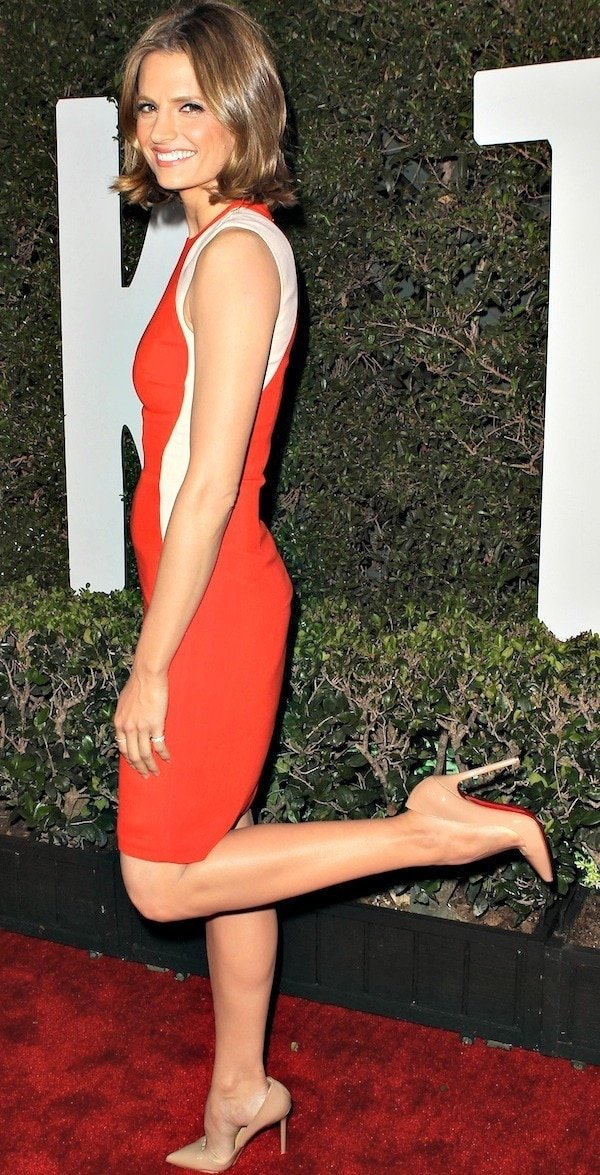 Stana Katic pops her foot on the red carpet to show off the Christian Louboutin pumps on her feet