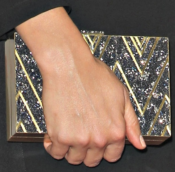 Stana Katic carries a clutch on the red carpet of a movie premiere