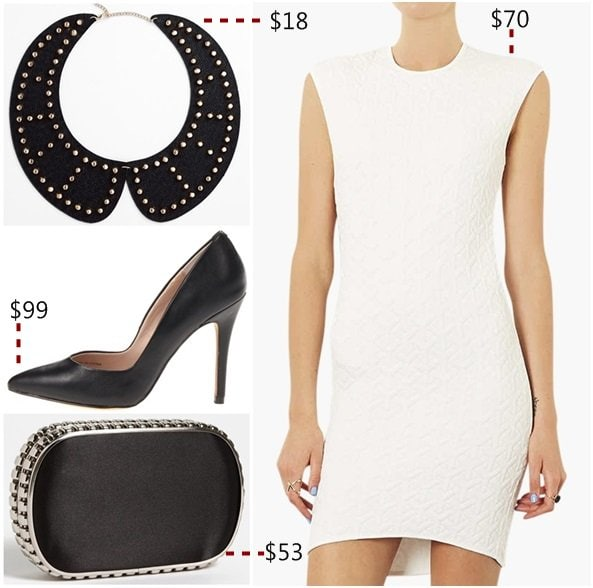 Pair black pumps with white or very light pieces
