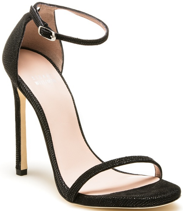 "Stuart Weitzman ""Nudist"" Sandal in Black Goose Bump Nappa"