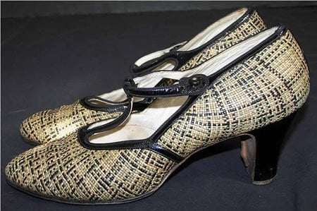 1920s Green and Black T-Strap Straw Shoes
