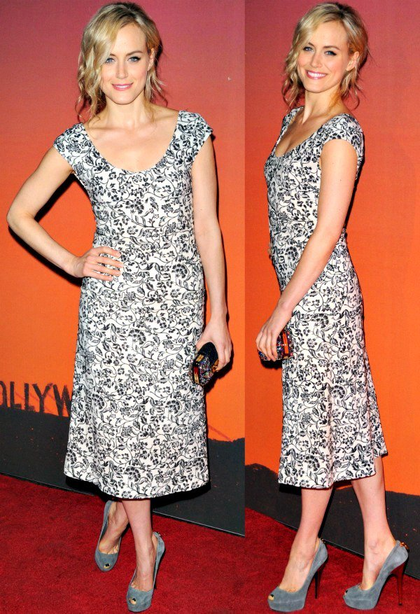 "Taylor Schilling wore a black-and-white Resort 2014 dress paired with the ""Oh Really!"" peep-toe pumps in gray suede"