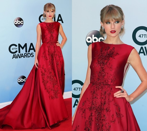 Taylor Swift steals the spotlight in an Elie Saab gown at the 47th Annual Country Music Awards