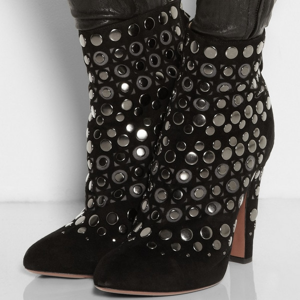 Alaïa Studded Cutout Suede Ankle Boots