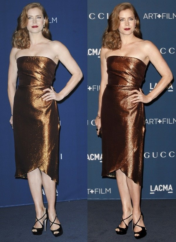 Amy Adams looked elegant in a bronze strapless dress from Gucci