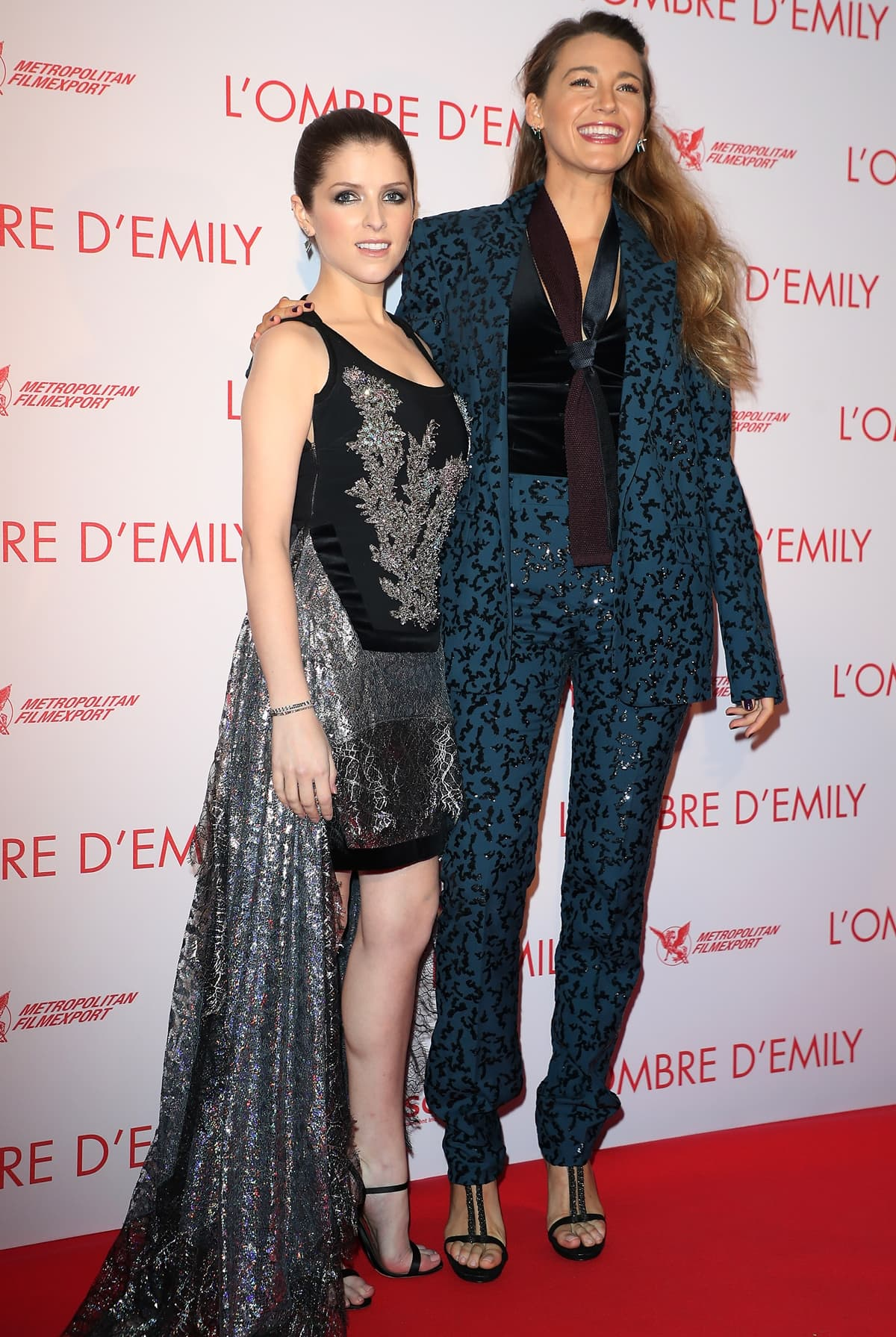 Anna Kendrick and Blake Lively promoting their 2018 American black comedy crime thriller film A Simple Favor in Paris