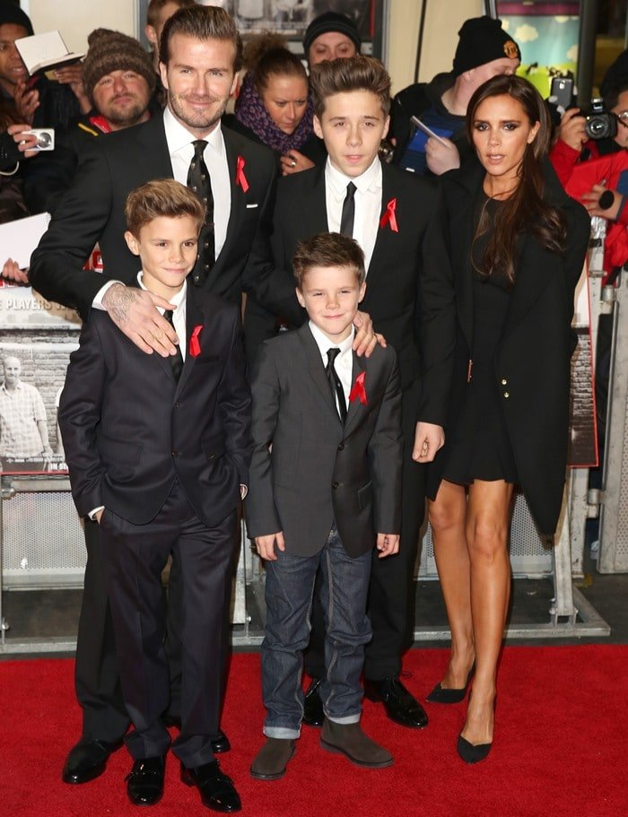 The Beckham family poses for photos in monochrome ensembles
