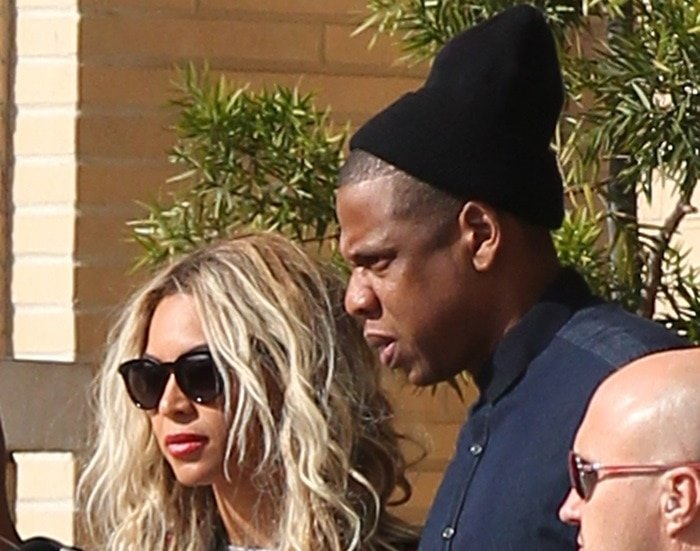 Beyonce wears her hair down as she goes shopping with husband Jay-Z in Beverly Hills