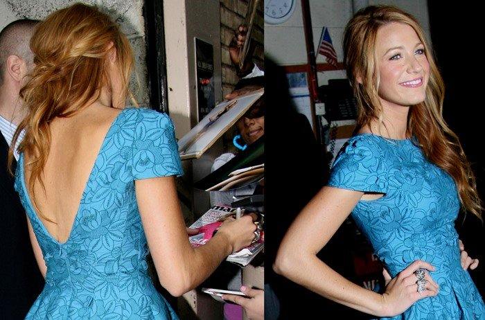 Blake Lively wears a beautiful blue cap sleeve dress outside ABC Studios