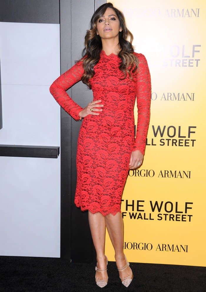 Camila Alves In Red Dolce Amp Gabbana Dress And Nude Lace Pumps