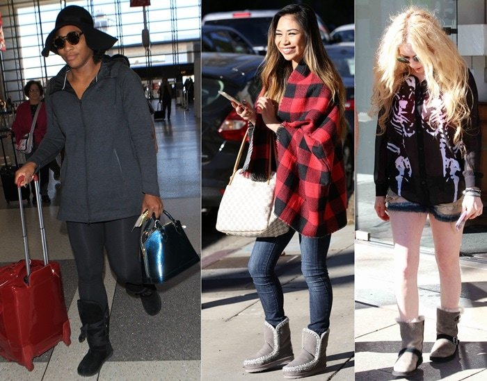 Serena Williams, Jessica Sanchez, and Avril Lavigne wearing UGG boots