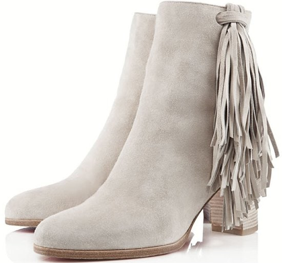 """Christian Louboutin """"Jimmynetta"""" Stone Suede Fringed Ankle Boots"""