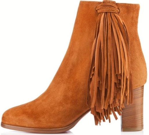 """Christian Louboutin """"Jimmynetta"""" Tan Suede Fringed Ankle Boots"""
