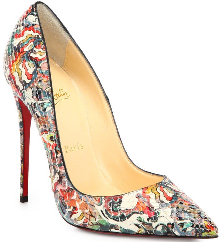 """Christian Louboutin """"So Kate"""" Artistic-Print Pumps in Python Multicolor"""