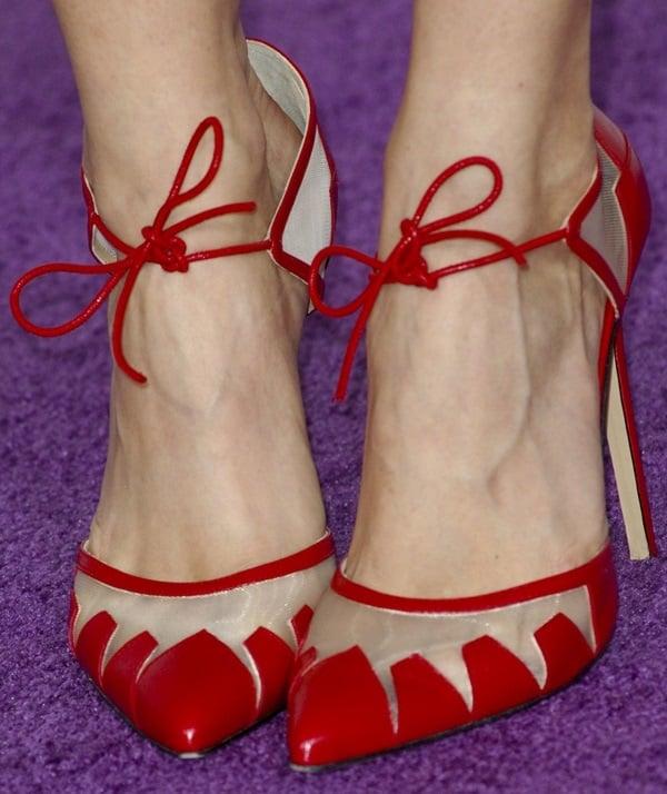 Debby Ryan showed off her feet in red Bionda Castana 'Lana' pumps