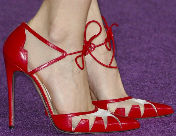 Debby Ryan's sexy feet in red shoes