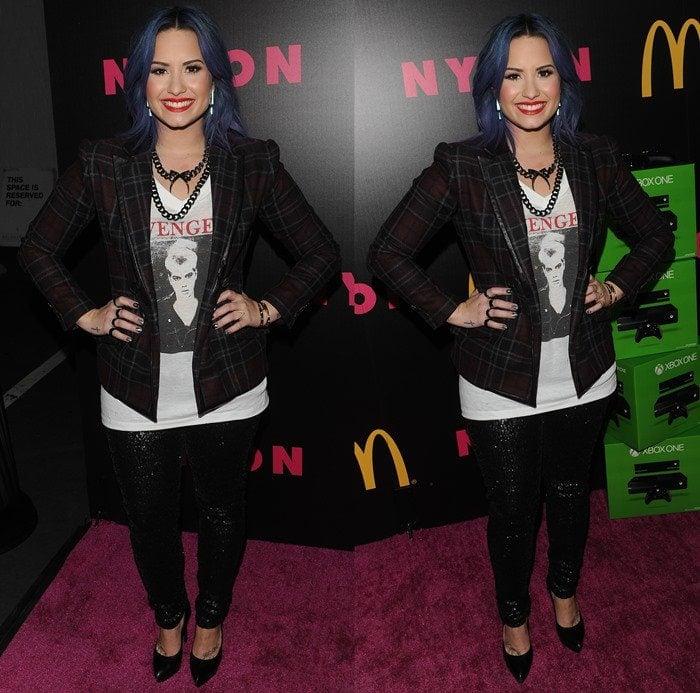 Demi Lovato rocked an Italian wool plaid structured jacket from Marissa Webb