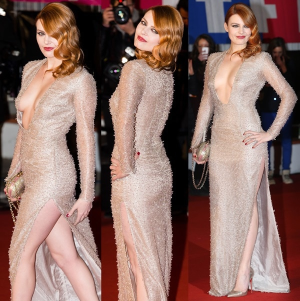 Élodie Frégé at the 15th NRJ Music Awards held at Palais des Festivals in Paris, France, on December 14, 2013