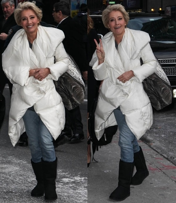 Emma Thompson visiting the Late Show with David Letterman in New York City on December 11, 2013