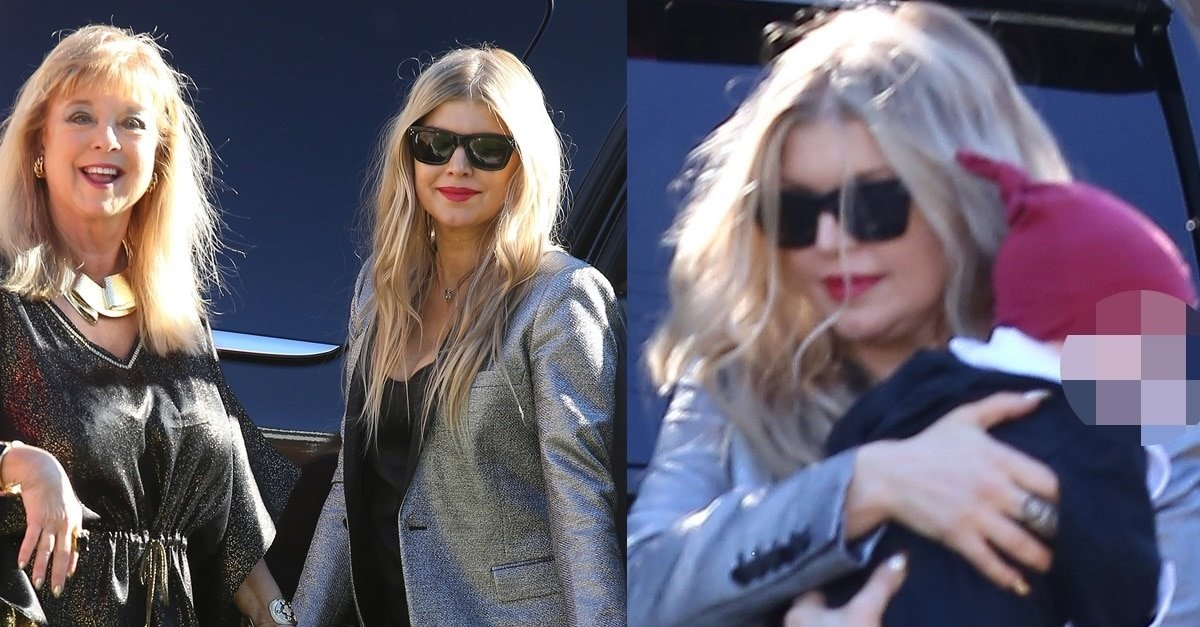 Fergie Celebrates Christmas In Silver Tuxedo Jacket And Raleigh Heels