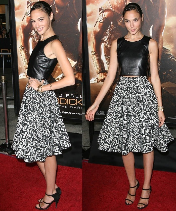 Gal Gadot wears a leather crop top and printed skirt on the red carpet