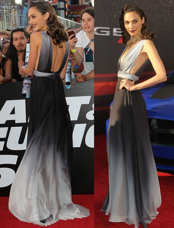 """Gal Gadot wears a floor-length gown at the premiere of """"Fast & Furious 6"""""""