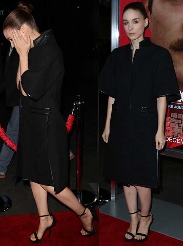 Actress Rooney Mara wore a black three-quarter-sleeve coat by Givenchy paired with black sandals from the same brand