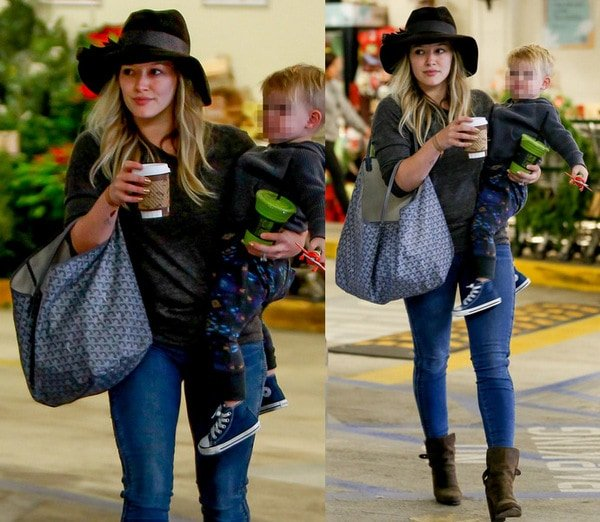 """Hilary Duff sported a simple tee, standard blue jeans, and a pair of """"Kinsey"""" boots from Rag & Bone"""