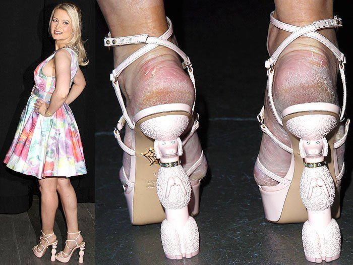 Holly Madison cracked heels dog