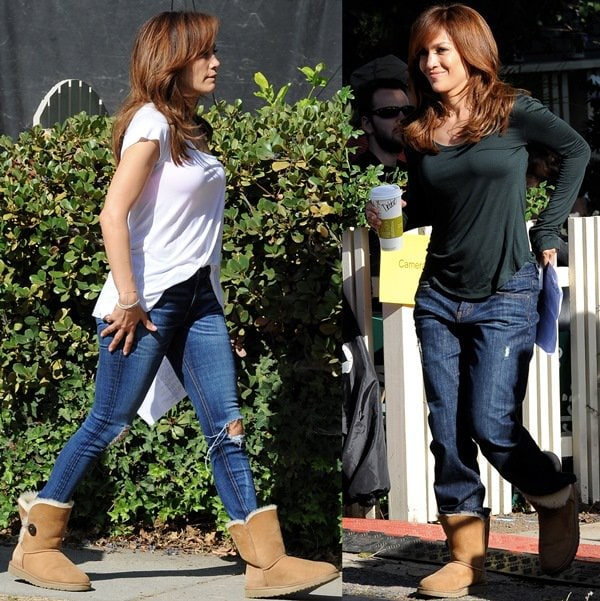 Jennifer Lopez spotted with Leah Remini filming reshoots for her upcoming movie The Boy Next Door in Los Angeles on June 23, 2014
