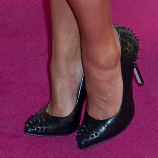 Jedy Nelson wearing Topshop heels with spiked studs on the pointy toes