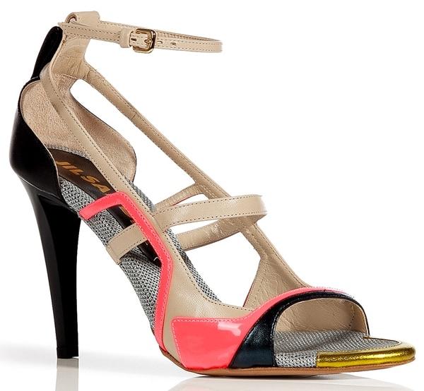 Jil Sander Black-Multi Colorblock Sandals