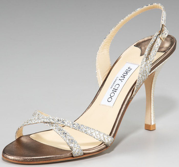 Jimmy Choo Gold India Glittered Crisscross Slingback