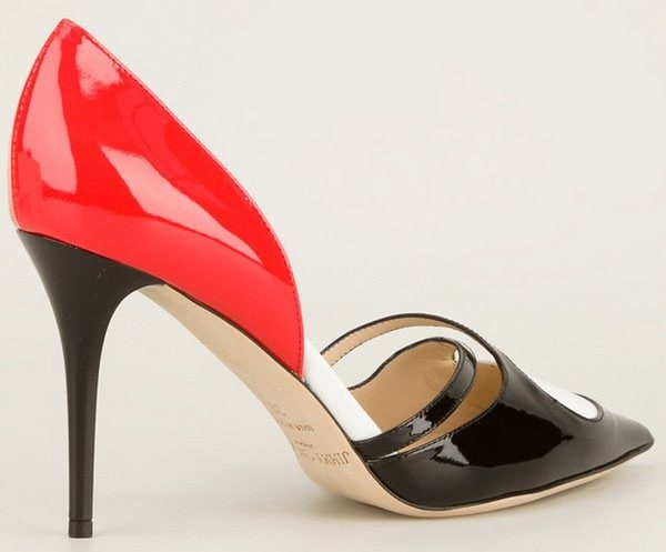 Tricolor patent leather is expertly layered and shaped to fashion a graceful pointy-toe pump with daring cutouts and arch-exposing open sides